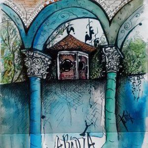"Claustro San Benito de Palermo. ""Abadía 2"". Acuarela. 20 x 14.50 cm. Agosto 2017"