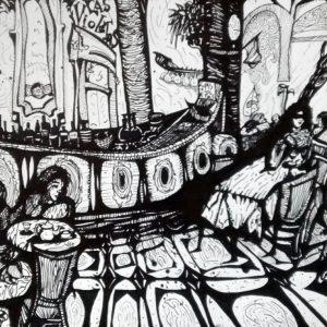 """Pasaje Peluffo, Barrio de Almagro. """"Las Violetas"""". Marcador y microfibra. 30 x 42 cm. Junio 2017"""