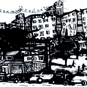 """Barrio de Villa Lugano. """"Piedrabuena"""". Marcador sobre hoja de 200 gr. 30 x 42 cm. Octubre 2017."""