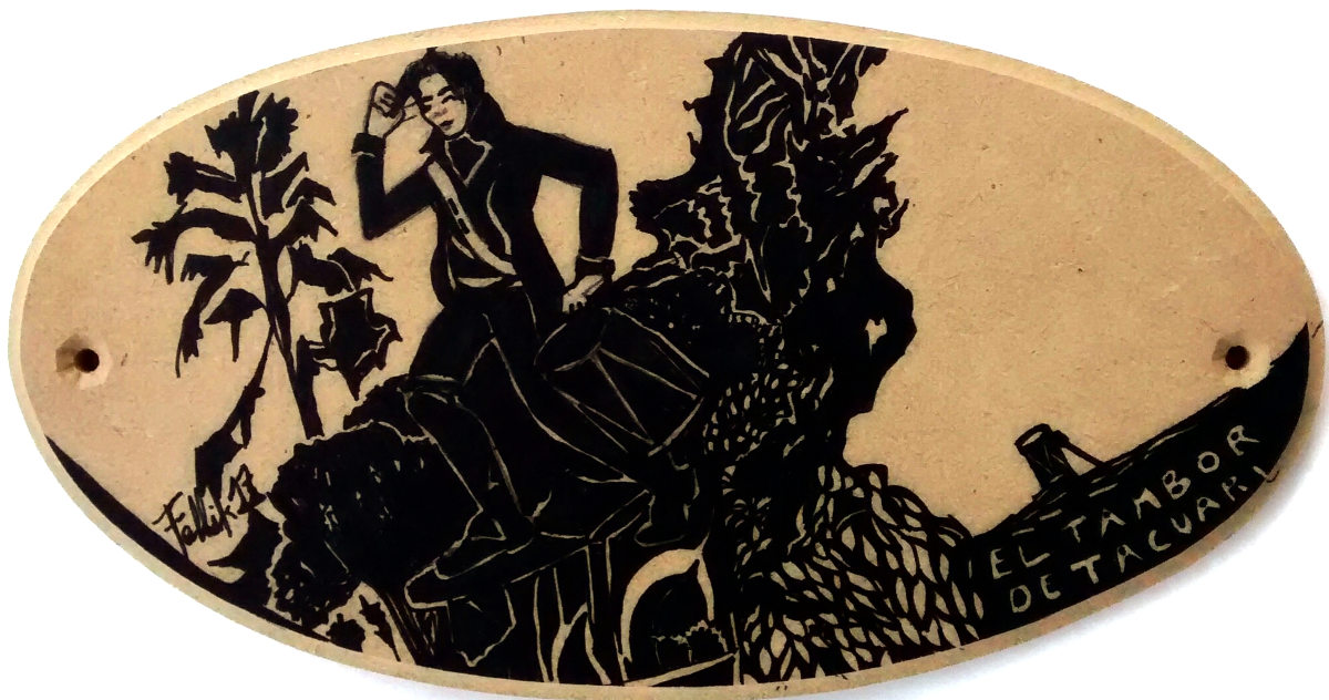 """Regimiento de Patricios, Palermo. """"Tamborcito Tacuarí"""". Tinta sobre oval de madera. 12.50 x 24 cm. Marzo 2017"""