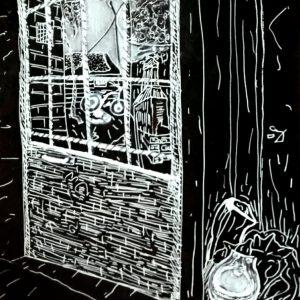"Pasaje Peluffo, Barrio de Almagro. ""Almagro"". Fibra sobre negro. 30 x 22 cm. Junio 2017"