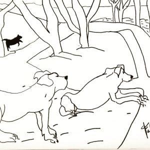 """Salida Especial Capilla del Señor. """"Más perros en Capilla"""". Marcador sobre hoja 200 gr. 30 x 42 cm. 27 de Mayo 2017."""