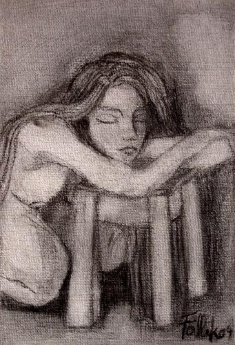 S/T. Grafito sobre tela pequeña. 14 x 8 cm. 1998