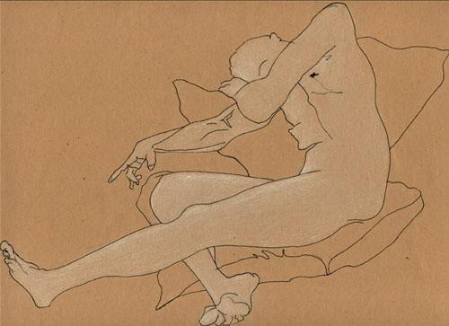 """Desnudit masculin"". Birome y lápiz. 55 x 40 cm."