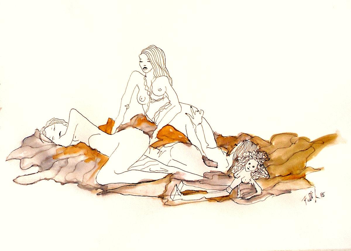 'Muñecas de San Telmo'. Tinta. 50 x 35 cm.   <strong>    </strong>