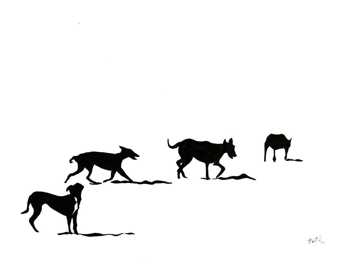 """""""Pampas en la playa"""". Tinta. 35 x 50 cm. 2014"""