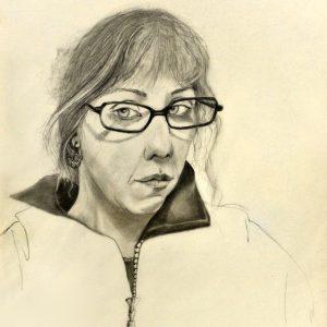 """Autoretrato : """"Mala como tu madre"""".  35 X 49 cm.  1997"""
