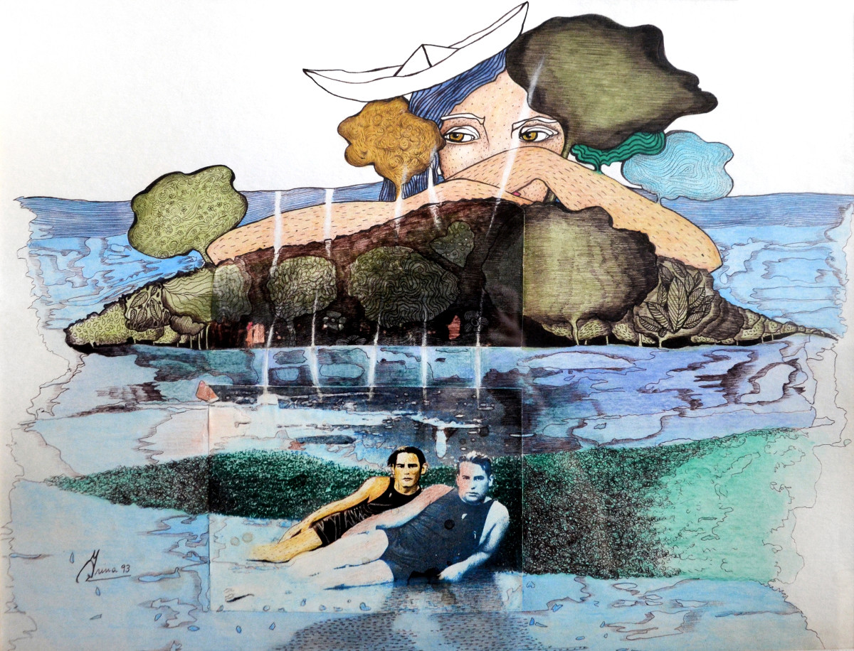 'Abuelo Luis'. Birome/Dibujo color.33.50 x 44 cm. 1993  <strong>    </strong>