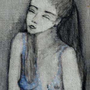 S/T  Grafito sobre tela pequeña. 14 x8 cm. 1998
