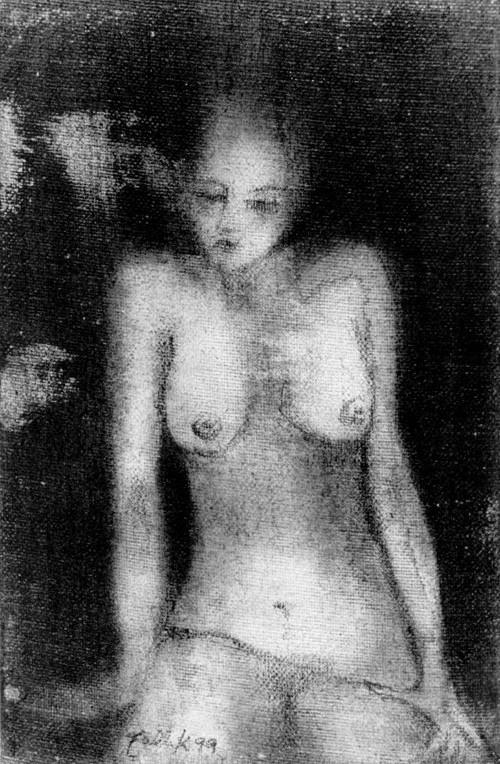 S/T. Grafito sobre tela pequeña. 14 x 8 cm. 1999    <strong>    </strong>