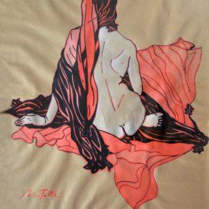 """""""Aplacada por ahora"""" de la Serie """"Los Pelos al viento"""". Marcador sobre escenografía. 73 x 58 cm. 2001"""