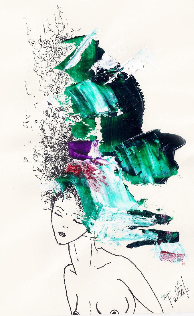 'Pelos para Jacinto' de la Serie 'Los Pelos al viento'. Acrílico y tinta.  16 x12 cm. 2000     <strong>    </strong>