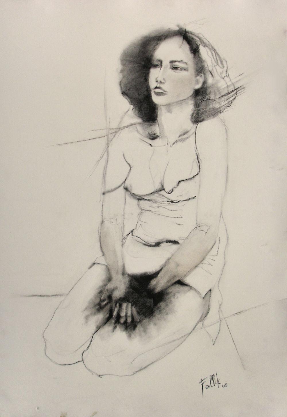 """""""Regazo"""". Carbonilla sobre tela. 120 X 100 cm. 2003    <strong>    </strong>"""