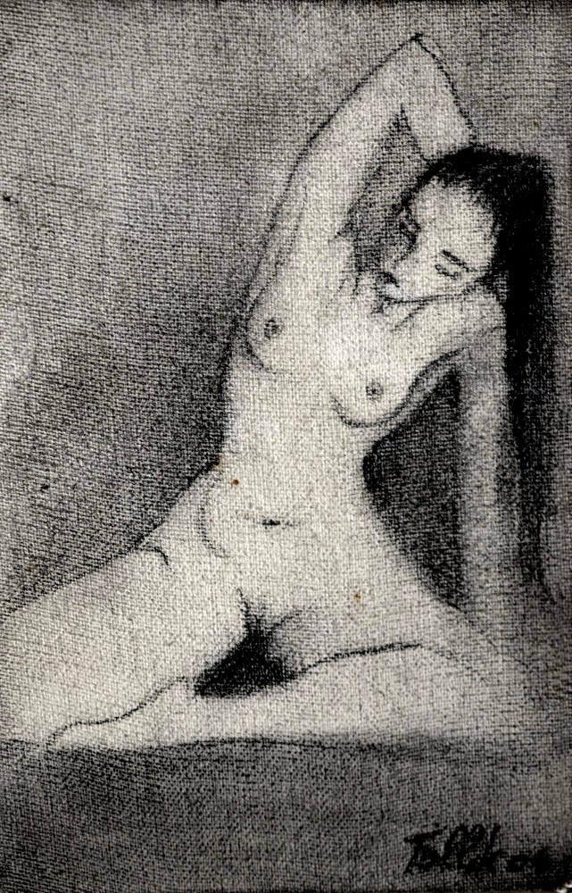 S/T  Grafito sobre tela pequeña- 14 x 8 cm. 1998