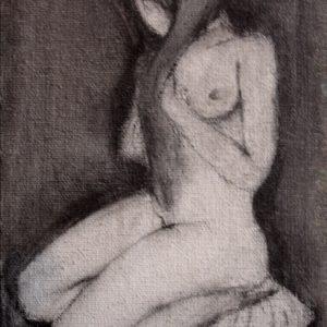 S/T. Grafito sobre tela pequeña. 14 x 8 cm. 1999