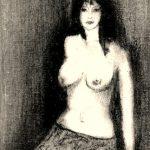 S/T. Grafito sobre tela pequeña. 14 x 8 cm. 1998    <strong>    </strong>