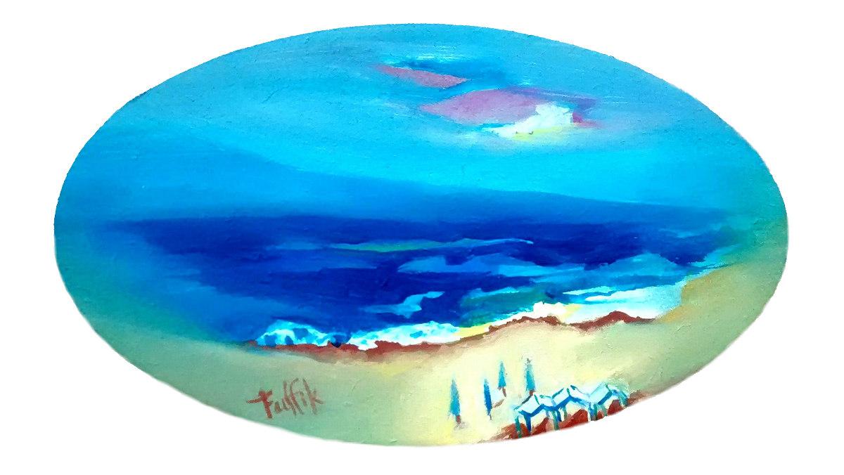 """""""Dios mar"""". Gouache sobre madera. Ovalado 10.50 x 17.50 cm. 2016"""