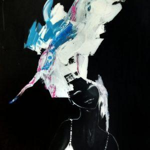 """S/T de la Serie """"Los Pelos al viento"""".  Acrílico. 70 x 50 cm.  2012"""