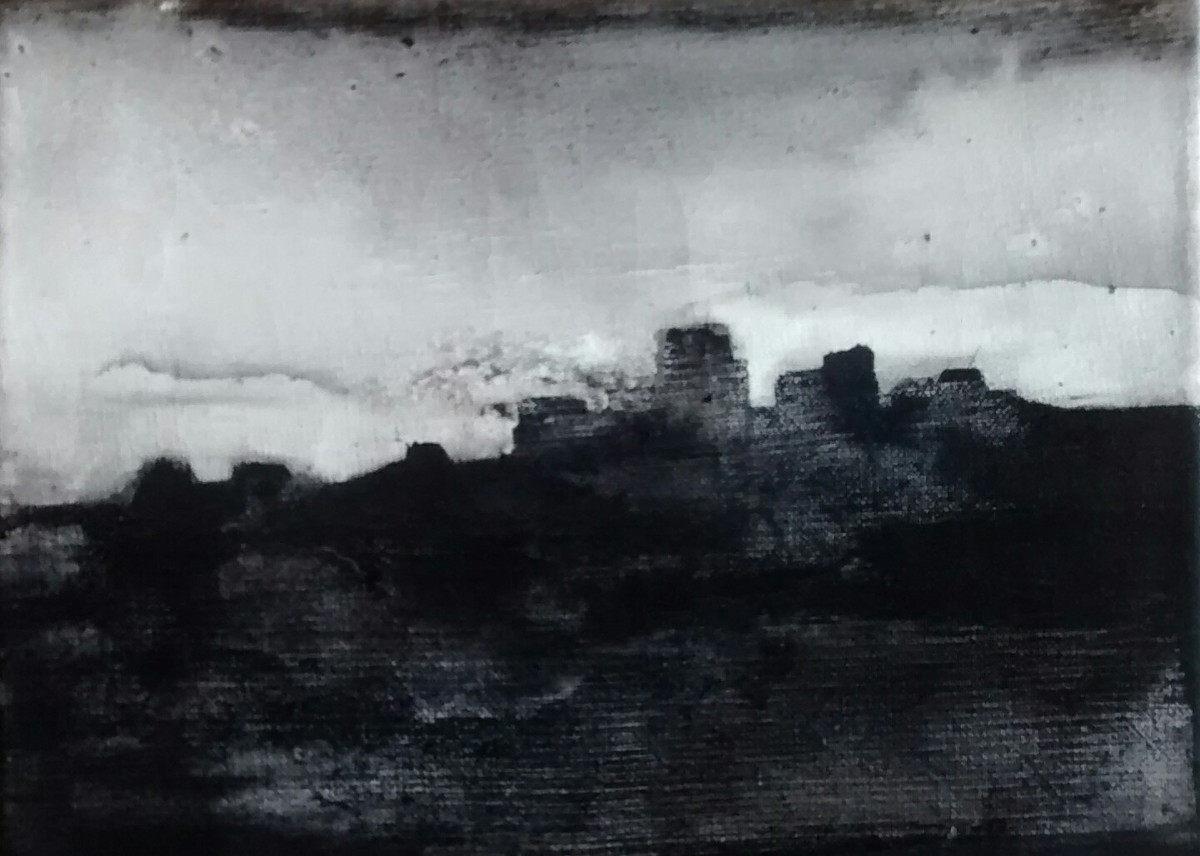 """LLueve desde mi casa"". Acrílico sobre tela. 13 x 18 cm. 2016"