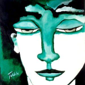 """""""El verde"""". Acrílico sobre tela. 70 x 50 cm. 1998"""