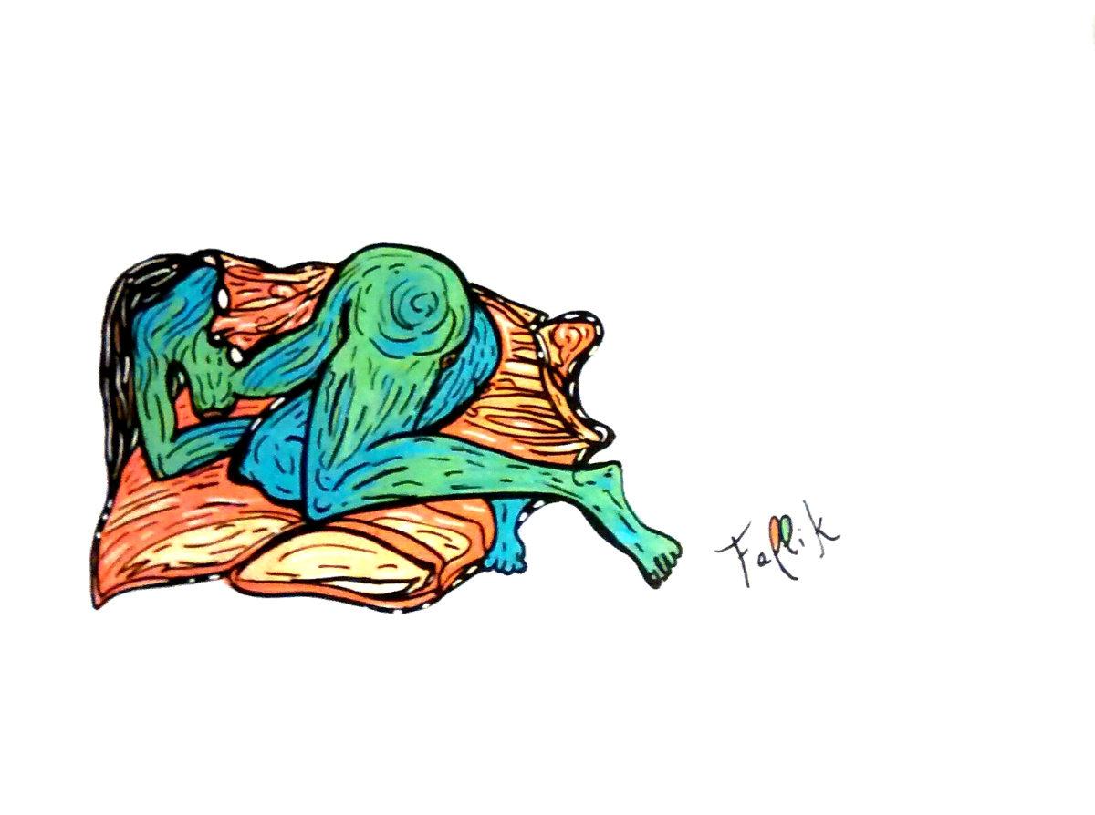"""Corazón de kiwi"". Marcador acrílico sobre palpel. 35 x 50 cm. 2017"