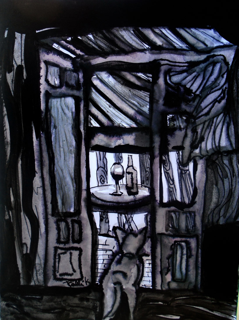 """Pampa al malbec"". Aguada. 19.50 x 14.50 cm. 2014"