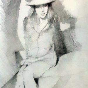"""""""Autoretrato en la playa"""". Lápiz. 40 x 25 cm. 2004"""