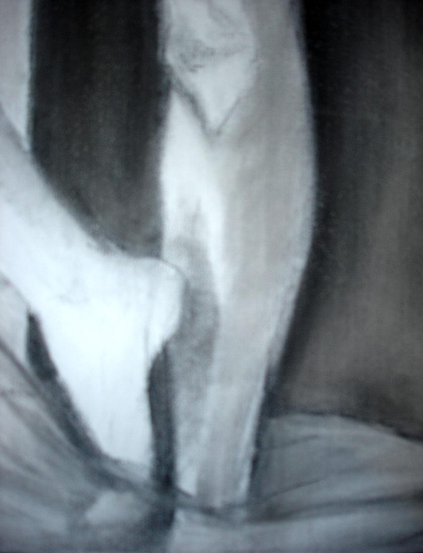 Detalle: S/T. Carbonilla sobre tela.