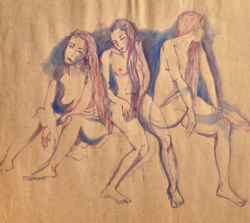 'Yami por 3'. Tinta. 35 x 38 cm.    <strong>    </strong>