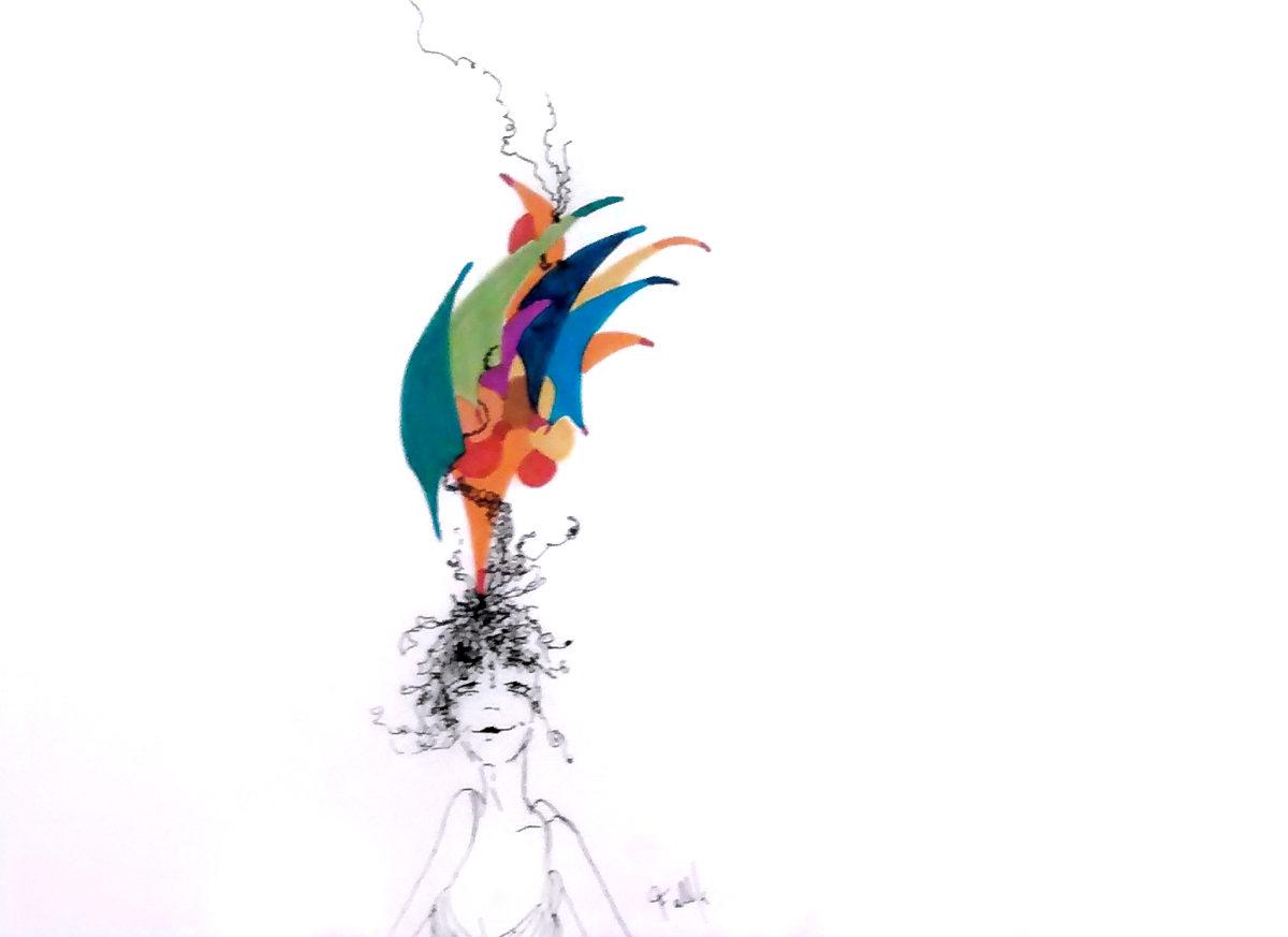 S/T de la Serie 'Los Pelos al viento'.  Tinta. 40 x25 cm 2000    <strong>    </strong>