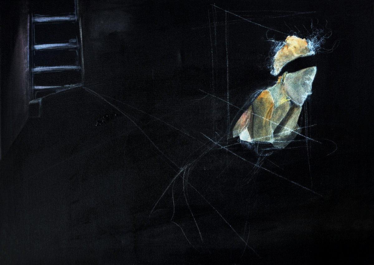 """""""Barra , de la Serie de los Obscuros"""". Acrílico sobre tela.50 x 70 cm. 2006"""