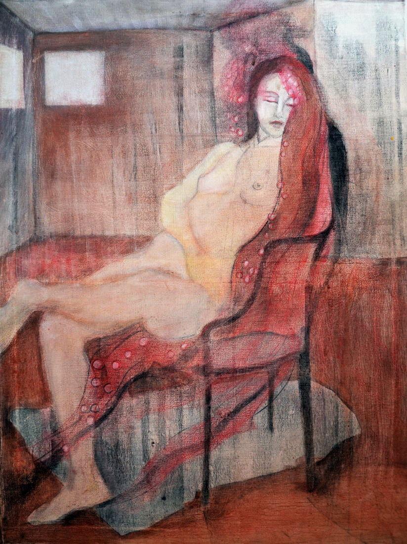 """""""Los pelos de Yami"""" . Pastel sobre tela. 80 x 60 cm. 2003"""