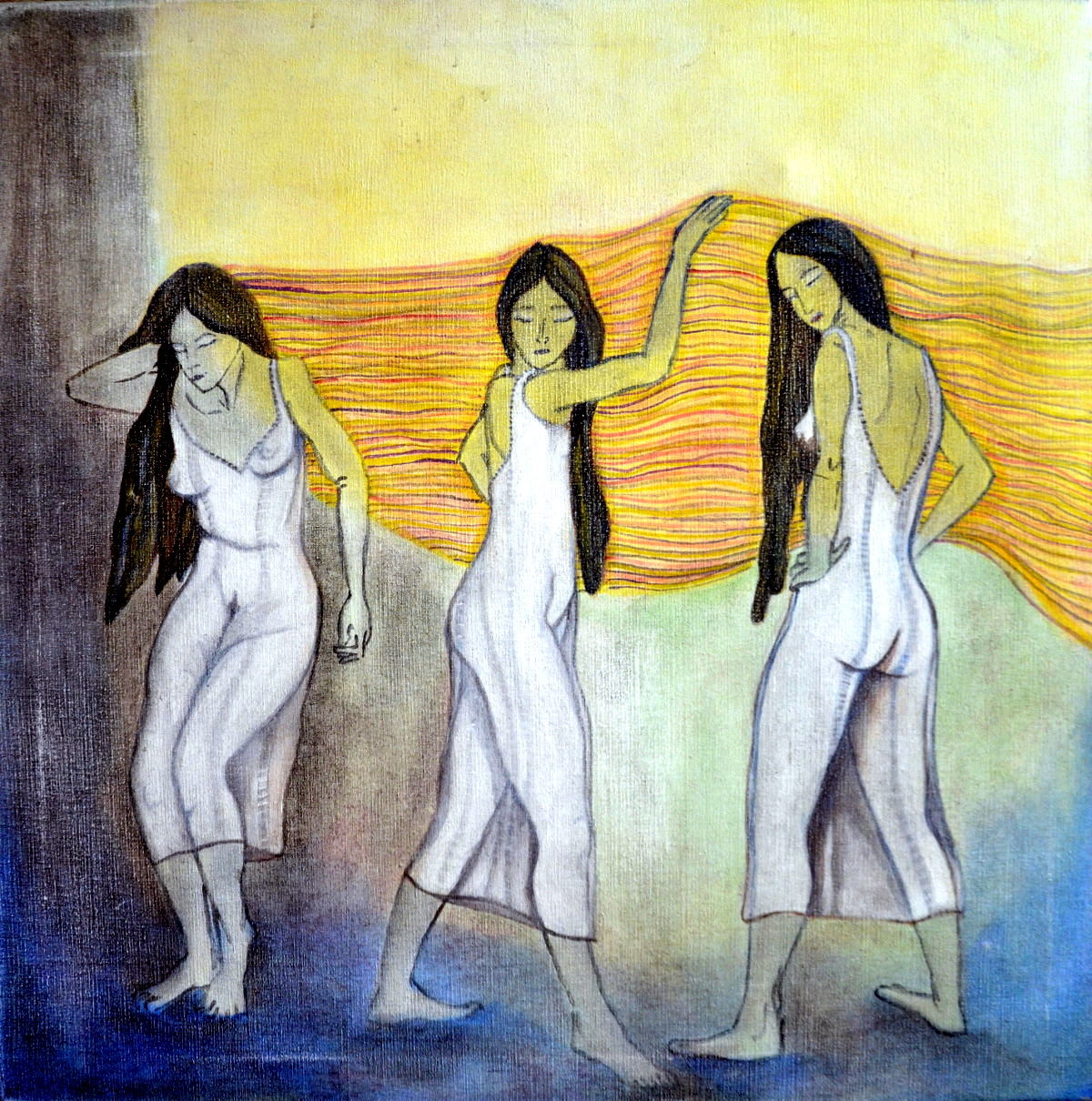 """""""Tres por Yami"""". Acrílco sobre tela. 60 x60 cm. 2002"""