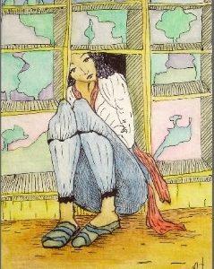 """Ventanitas"". Dibujo color. 20.50 x 12 cm. 2005"