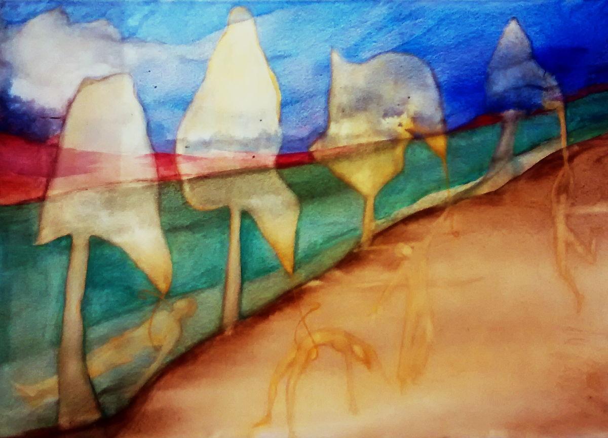 """""""Todos mis muertos"""". Acrílico sobre tela.70 x 100 cm. 2009"""