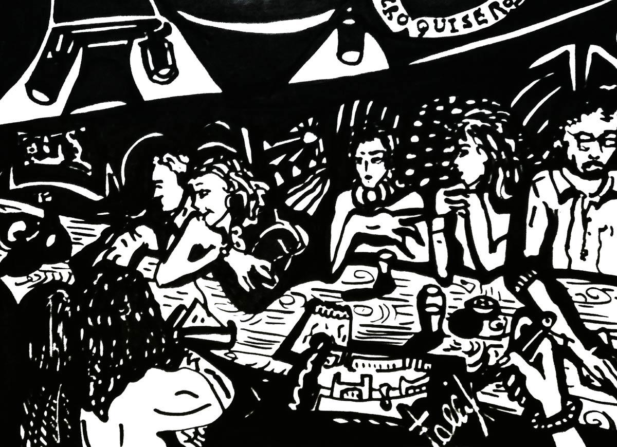 Av. Santa Fe, Bar con croquiseros. Fibrón.  Julio 2018