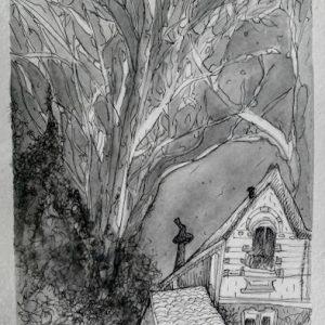 Las casitas de Coghlan. Tinta aguada. Sept. 2018